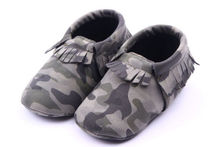 Cute Infant Toddler Baby Fringe Camouflage Tassel Soft Soled Moccasin Crib Shoes(China (Mainland))