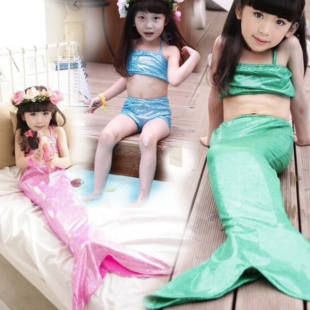 Девочки юбка-купальник милый русалка дети плавание купальники костюм детская одежда установить хвост + верхней части пробки + шорты biquini infantil
