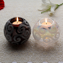 Blown Glass Round Ball White Black Tealight Candle Holders Table Centre Holders Christmas Dinner Festival Home Decor(China (Mainland))