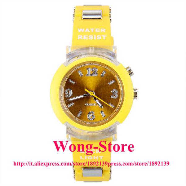 80033 Colorful Flashing Light Water Resistant Women Watch with Rubber Watchband 80033(China (Mainland))