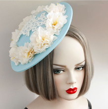 Free ship light blue flowrs lace medieval hair decoration plat hat stage costume accessory
