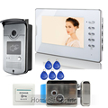 FREE SHIPPING Home 7 Color Screen Video Door Phone Intercom System 1 RFID Access Camera 1
