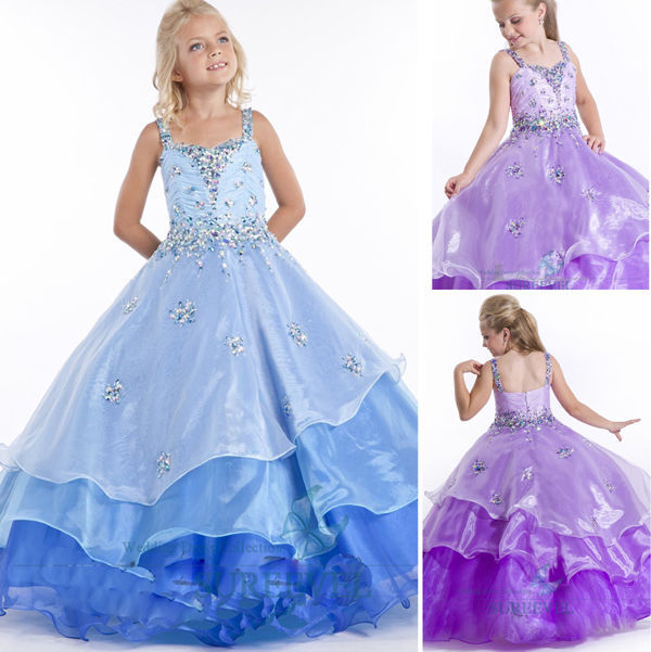 2015 Ball Gown Flower Girl's Dresses Ankle-Length Beading Spaghetti Kids Dresses Custom High Quality Cheap New Summer Style(China (Mainland))