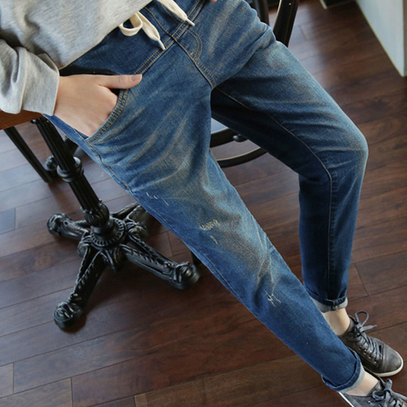 2016 Spring and Autumn new fashion jeans harem pants waist jeans Slim sexy male wide stretch 9 pants suit big yards ladies XXXXL(China (Mainland))
