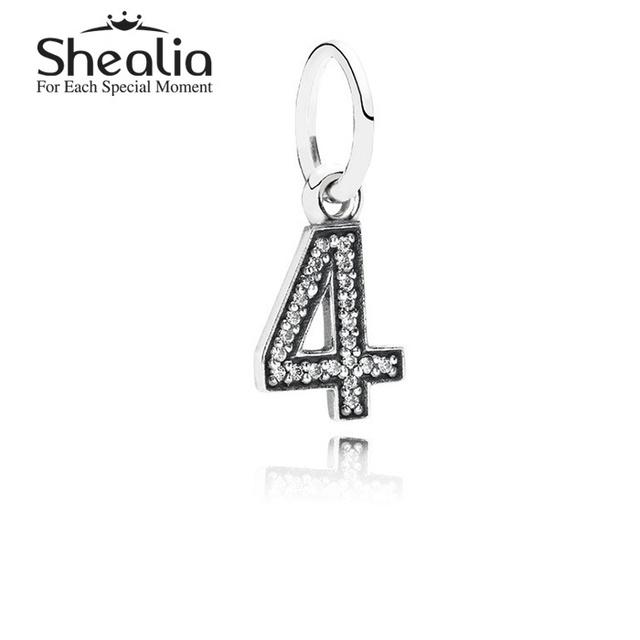 Аутентичные стерлингового серебра 925 номер четыре мотаться подвески подвеска с четкими CZ для женщин подходит известный бренд DIY браслеты LE1404