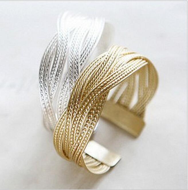 Hot sale fashon women knitted twisted metal rattan Bracelets & Bangles Femininas Alloy Wide Big Bangles For Women free shipping(China (Mainland))