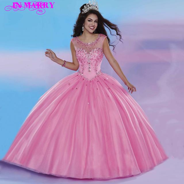 Отличительный Дизайн Сладкий 16 Бальное платье Ярко-Розовый Кристаллы Бисероплетение ...