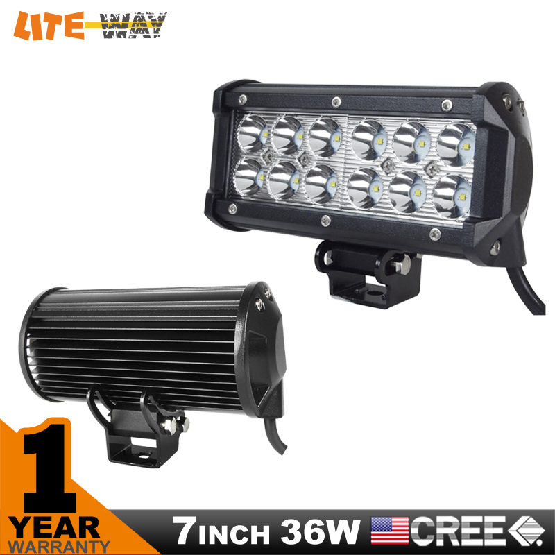 7INCH 36W CREE LED WORK LIGHT BAR FLOOD OFFROAD LIGHT FOR TRACTOR BOAT MILITARY EQUIPMENT LED WORK BAR LIGHT(China (Mainland))