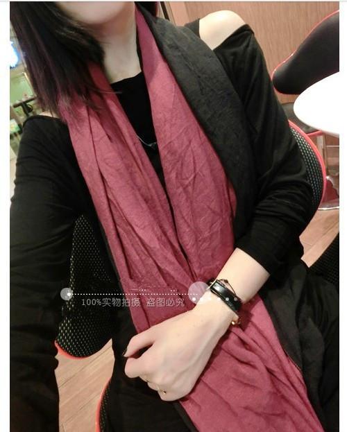 Qiu dong season cotton linen scarf super long dark spell wine red tassel shawls, female - Yiwu Meiqiao Jewelry Factory store