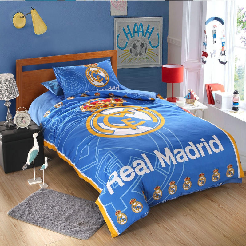 popular football bed linen duvet cover flat sheet pillow cases 4 pieces queen twin single bedding set new(China (Mainland))