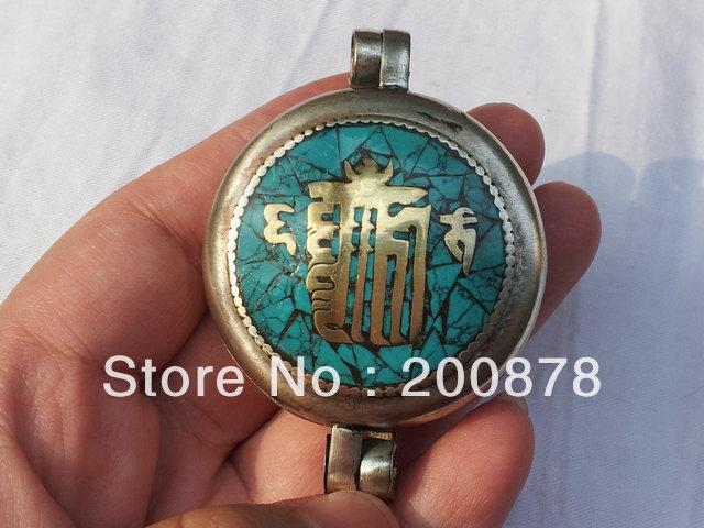 TGB211 Tibetan mantras amulet big prayer box,45mm,Tibet handmade Ghau pendants,KALACHAKRA(China (Mainland))