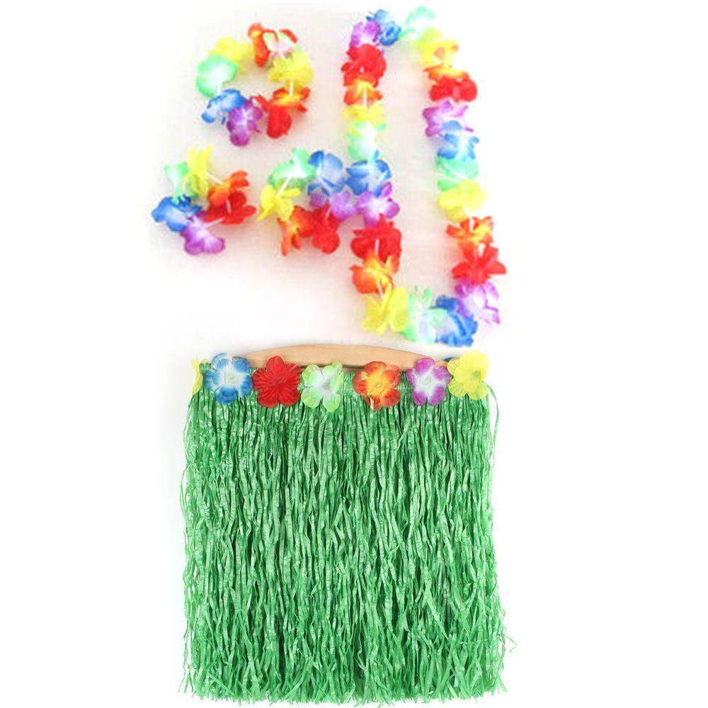 5 pcs Hawaiian Luau Garland Headband Wristband Party Hula Skirt Fancy Dress Grass(China (Mainland))