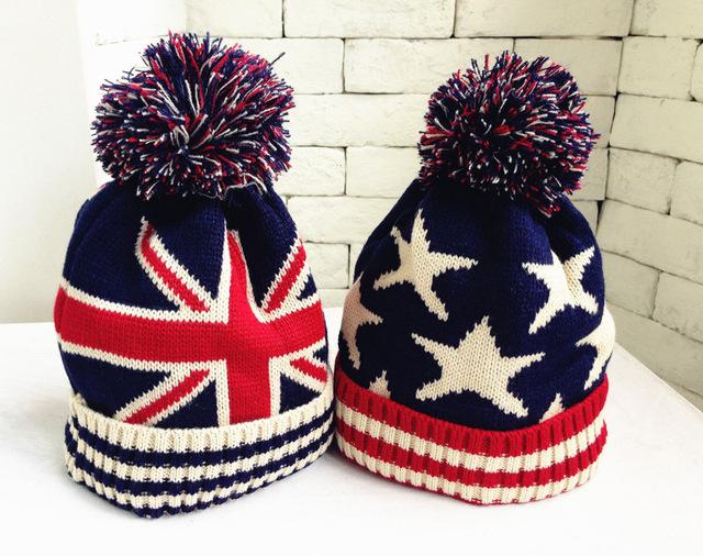 Лучшие Продажи Дети Дети зима теплая шляпы мальчики и девочки вязаный шерстяной фугу Мяч шляпы cap звездочный gorro лана