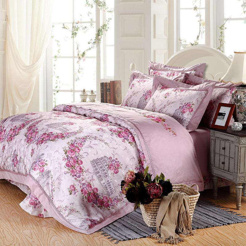 New arrival 100 cotton printing fashion 4pcs bed linen - Light purple comforter set ...