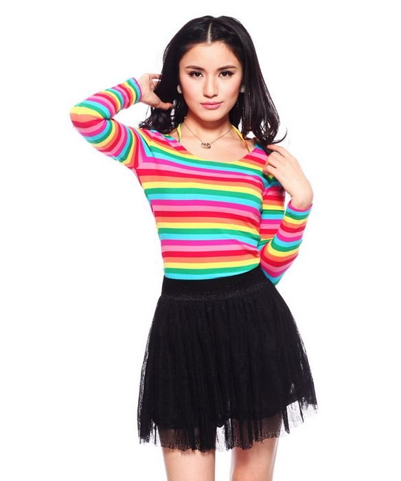 M,L,XL,XXL Rainbow Stripe Halter Hanging Neck Tshirt for Women Long Sleeve Fashion Tops Tee Free Shipping yn430