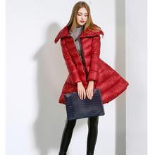 Women Winter Dress Skirt Style Slim Long Duck Down Coat 2015 Europe Fashion Outerwear