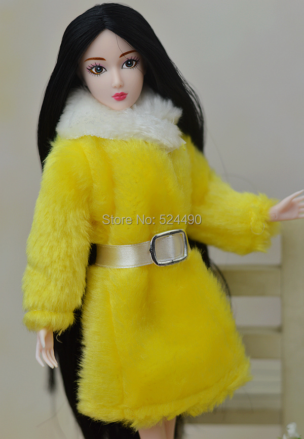 New Design 2015 White & Yellow Plush Lint Coat Belt Winter Put on Costume Snowsuit Clothes Outfit Garments For 1/6 Kurhn Barbie Doll