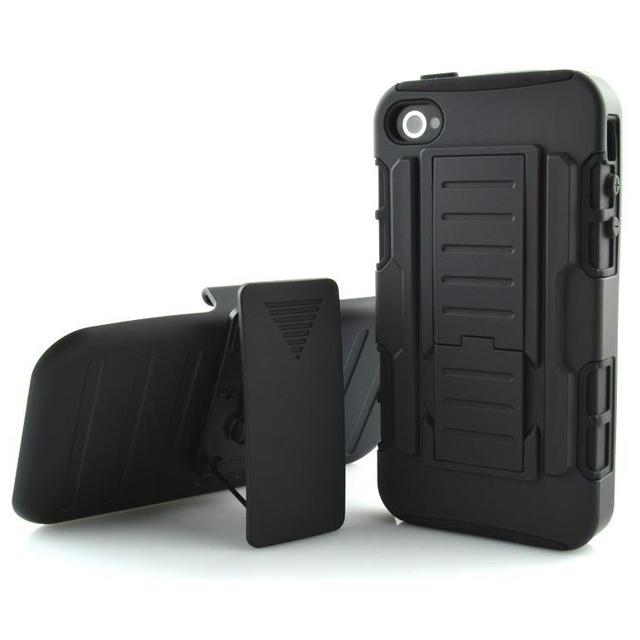 Rugged Combo Phone Cases for iPhone 4S Impact Belt Clip Holster Stand Armor Cases for iPhone 4 Shockproof Hybrid Shell Cover(Hong Kong)