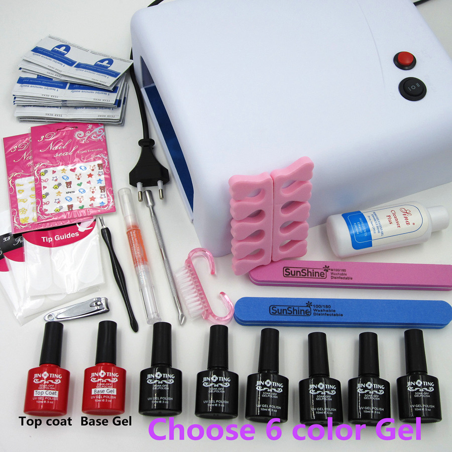 Manicure Tools 36w Uv Lamp + 10ml Soak Off Gel Nail Base Gel Top ...