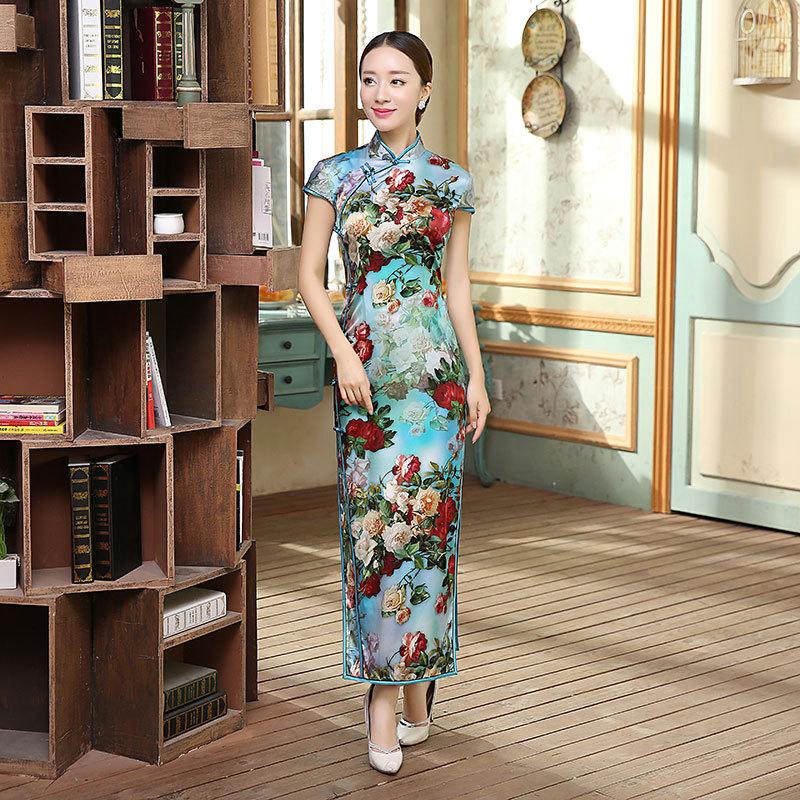 Classic Chinese Womens Spring Autumn Long Cheongsam High Quality Ladies Satin Qipao Dress Mujer Vestido Size S M L XL XXL CZ0006Одежда и ак�е��уары<br><br><br>Aliexpress