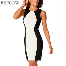 BEFORW Women Dress 2016 New Sleeveless Vest Dresses Plus Size Black And White Splice Sexy Dress Vintage Office Bodycon Dress(China (Mainland))
