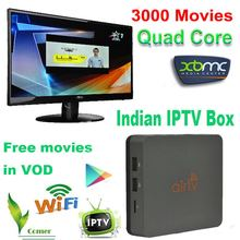 Android IPTV Box Indian azbox receiver Quad core 4.4 IPTV 200 Channel(China (Mainland))