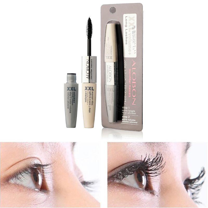 Fashion 3D Fiber Curl Lengthening Eyelashes Mascara Thick Makeup Lady Eye Black(China (Mainland))