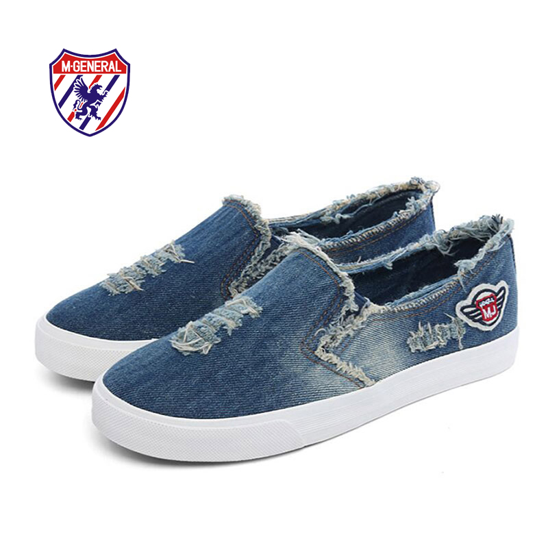 M.GENERAL 2016 New Women Fashion Canvas Denim Casual Lover's Couples Shoes Spring Summe r Autumn Style Low-cut Flats Shoe M68181(China (Mainland))