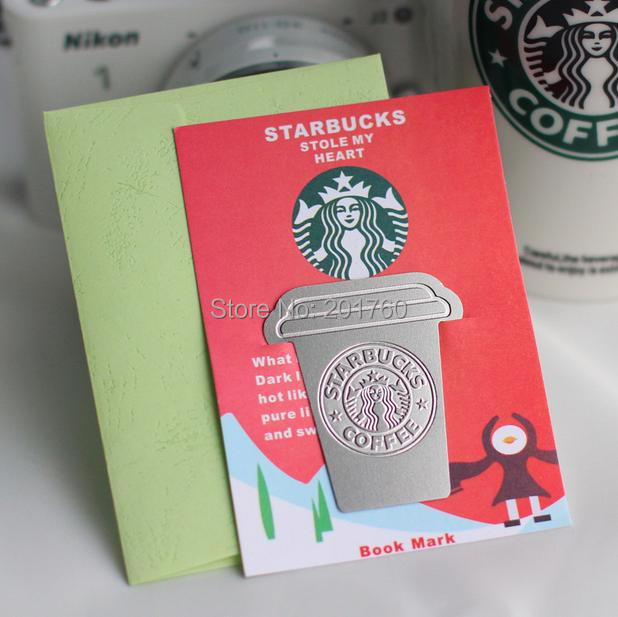 Starbucks Coffee Cup Bookmarks Stainless Steel Bookmark Office School Supplies Free Shipping 3 pcs/lot(China (Mainland))