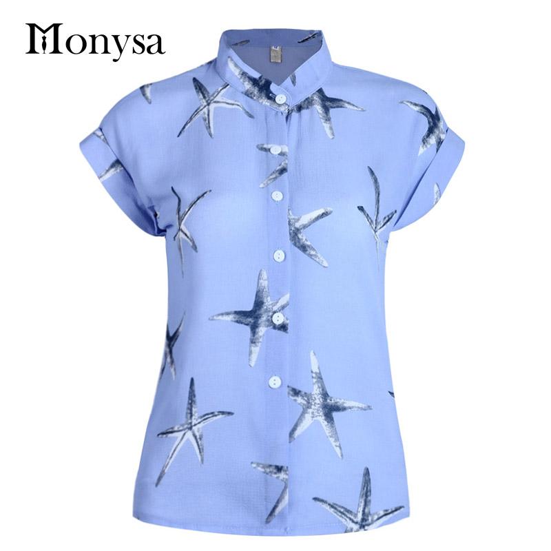 Plus Size Women Office Blouses 2016 Summer Korea Style Chiffon Print Casual Ladies Shirts Fashion White Blue Black Top Femme 3XL(China (Mainland))