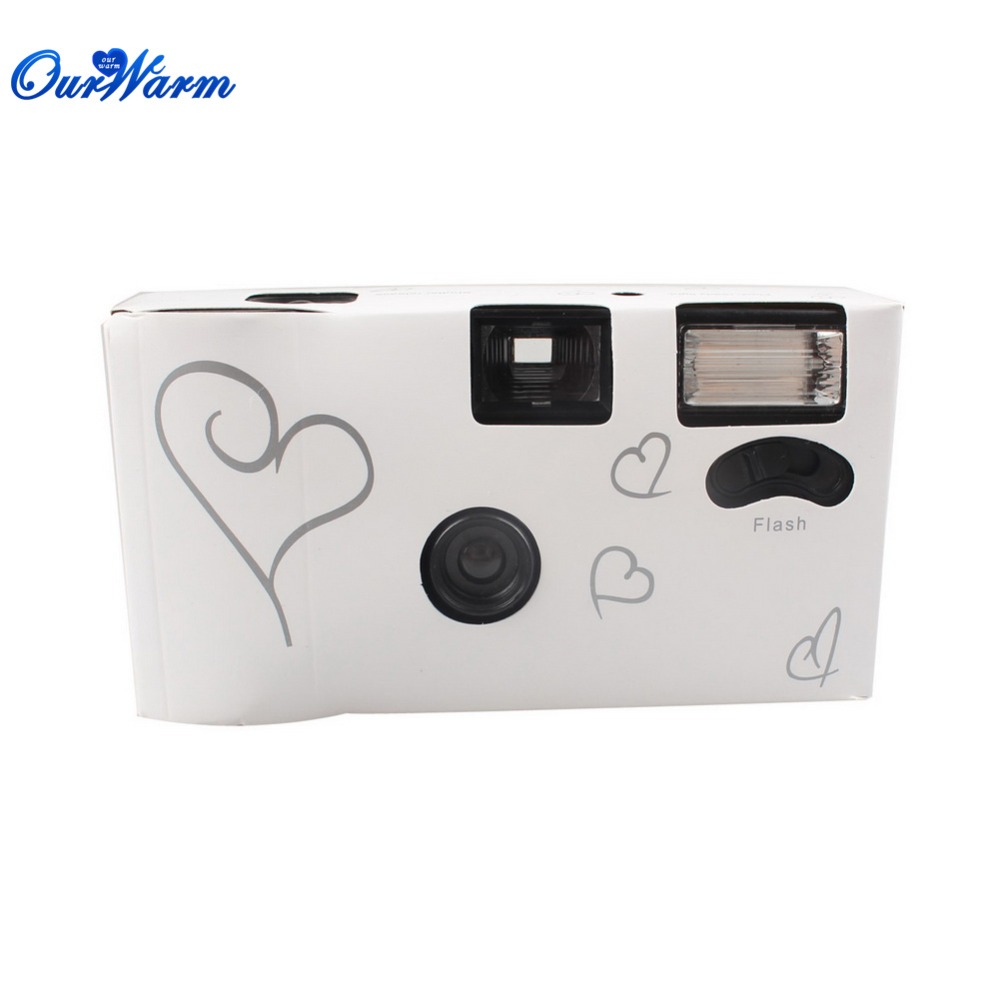 wholesale 20 sets Single Use Disposable Wedding Bridal Camera 36 photos Silver Funny Heart With Flash and Table Card DHL(China (Mainland))