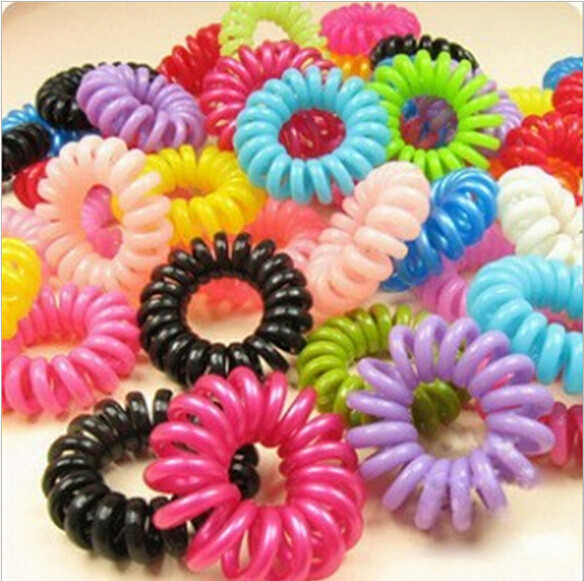 10pcs/lot Telephone Cord Elastic Ponytail Holders Hair Ring Scrunchies For WOmen Girl Rubber Band Tie Hair Accessories Wholesale(China (Mainland))