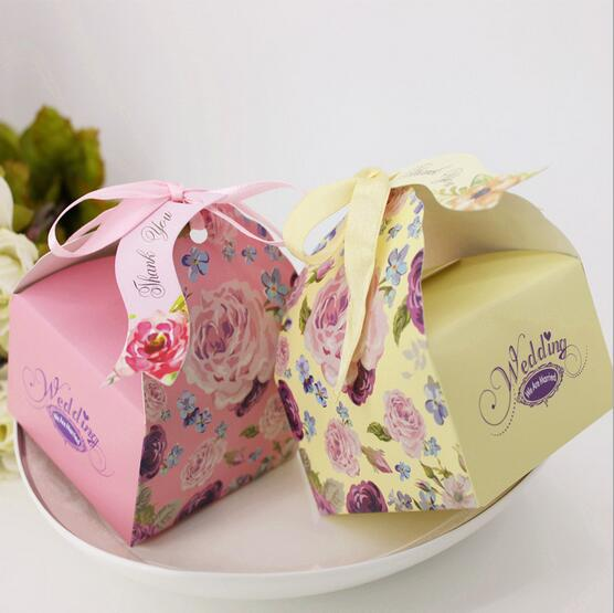2016 100pcs New wedding supplies favor candy box Peony Flowers party gift box with ribbons(China (Mainland))