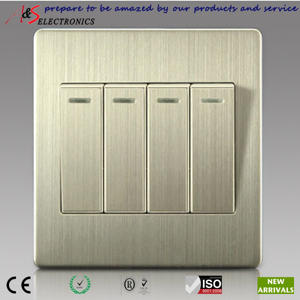 4 gang 2 way switch with classy brushed stainless steel for Housse switch