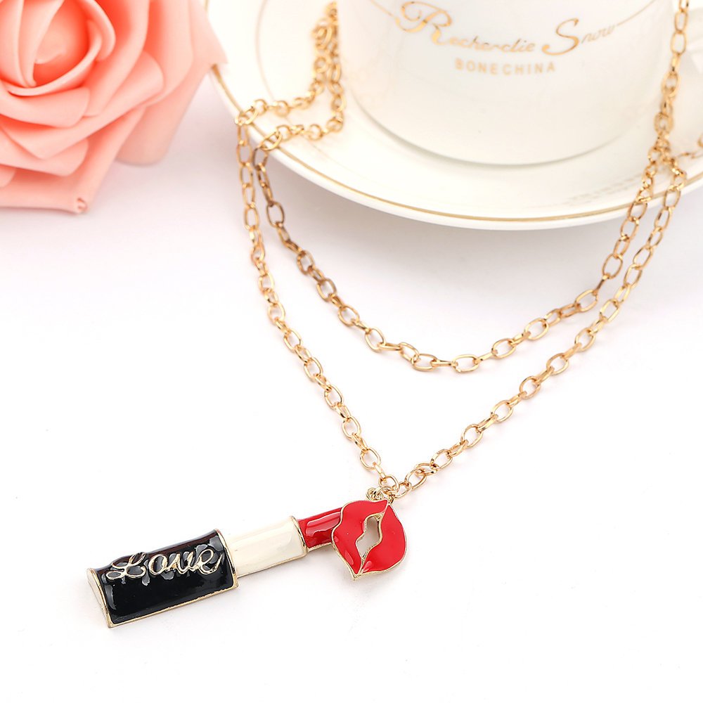 Sweet Charming Lipstick Mouth pendantl Necklaces Jewelry Long Neck For Christmas Gift gold Metal Chain Necklace &Pendant woman(China (Mainland))