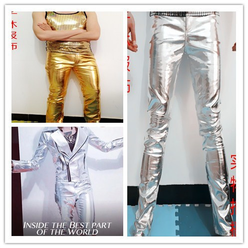 2015 newest plus size men stage show male singer DJ dancer costume gold silver slim PU trousers pants personalized wear bodysuit(China (Mainland))