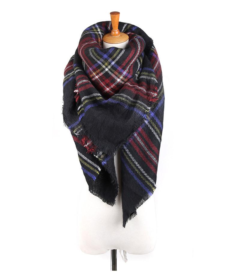 Winter Women Scarves za Large font b Tartan b font Scarf Pashmina Warp Shawl Acrylic Black