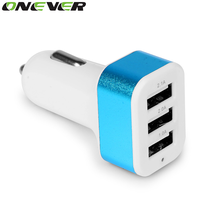 Onever Universal 3 Port USB Car Charger DC 12-24V 5V 1A/2A/2.1A Vehicle Charger for iPhone 6 6S plus iPad Samsung Tablet(China (Mainland))