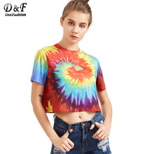 Buy Dotfashion Tie Dye Print T-shirt Women Multicolor Casual Short Sleeve Summer Crop Tops 2017 Fashion Vintage Cute T-shirt C3403 for $16.33 in AliExpress store