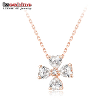 LZESHINE Brand Cross Pendant Necklace 18K Rose Gold Plated Women Jewellery Necklace With Heart Shape Austrian Crystal NL0285-A(China (Mainland))
