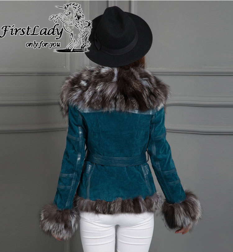 Real fox collars real leather jacket 8