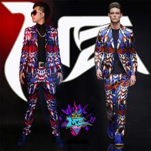 Buy Men Skinny Slim Printed Suits Jacket Pants Ds Dj Male Singer Dancer Performance Outerwear Prom Costume Show Jacket Stage Wear for $141.75 in AliExpress store