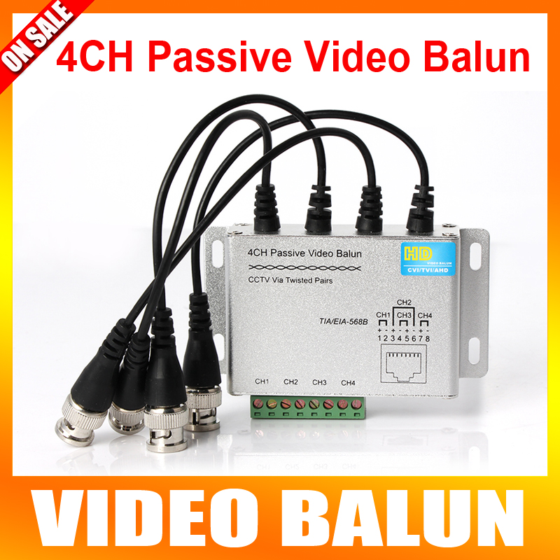 4Ch BNC Video Balun RJ45 Port Terminal Block UTP Cable Transfer CCTV Video Converter Plug and Play Support 720P CVI Camera 400M(China (Mainland))