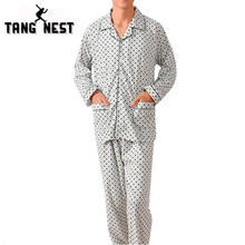 2016 Men's Breathable Pure Cotton Casual Pajamas Sets Delicate Plaid Sleepwear Includes Clothes And Pants Ten Colors NST039(China (Mainland))