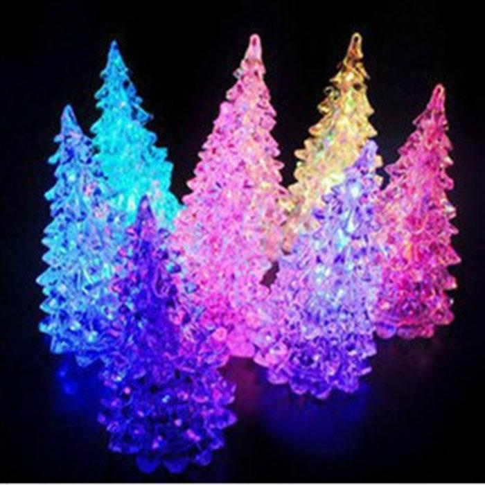 Beautiful Christmas Ornament Ice Crystal Colorful Christmas Tree Changing LED Desk Decor & Table Lamp Light(China (Mainland))
