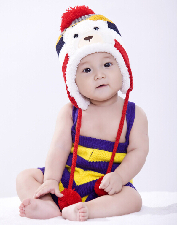 2016 Fashion Autumn Baby Hat Knitted Warm Cotton Toddler Beanie Cap Kids Girl Boy Color Striped Bear Kid Hats m29 - Lucinda's Potato store