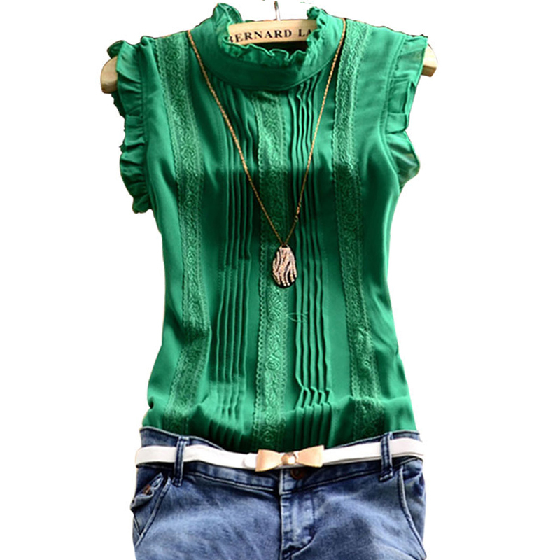 Summer Women Chiffon Lace Blouse 2015 Sweet Sleeveless Office Green White Mesh Lace Casual Tops Shirt Blouses Femme For Women