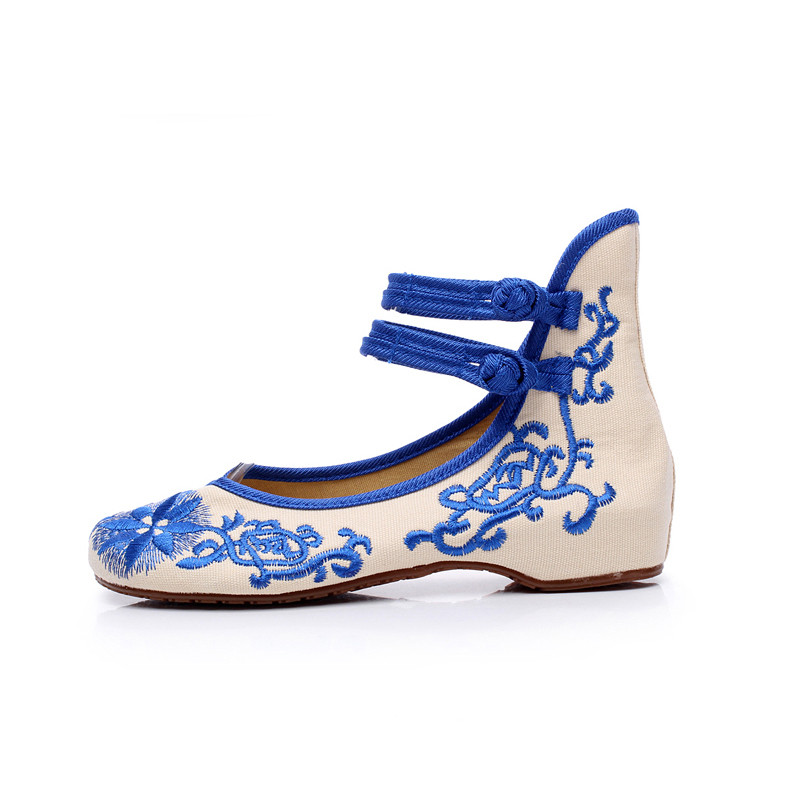 New Promotion Retro Women Shoes Chinese Style Embroidered Flower Ladies Women's Mary Janes Flats Bridal Red Blue Wedding Shoes(China (Mainland))