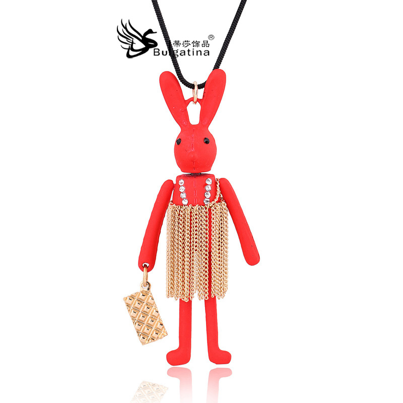 2015 new South Korean sweater chain tassel necklace villain red rabbit sweater chain doll necklace factory direct free shipping(China (Mainland))