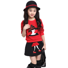 New Arrival 2016 Spring Girls Casual Cotton Two Pieces Clothing Sets Cute Cartoon Shirt + Skirt Fashion Summer Set Free Shipping(China (Mainland))